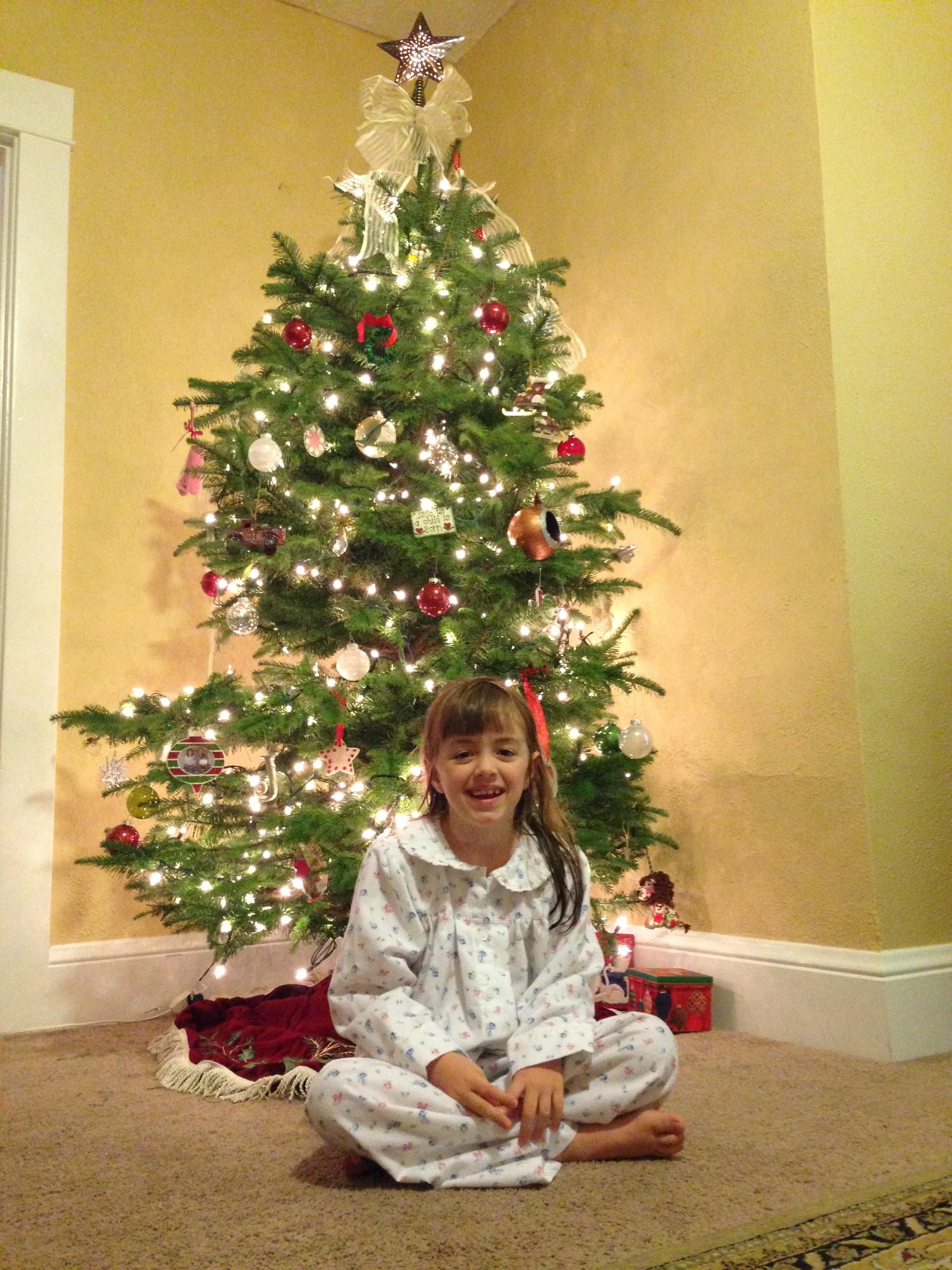 jenna in pjs by tree