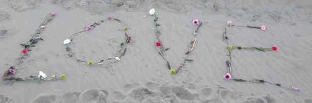 love flowers on beach