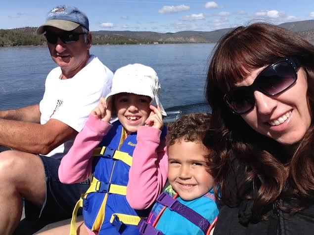 dad, kids, me in boat